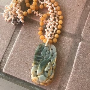 Jewelry - Vintage Natural Jade Pendant / Bead Necklace